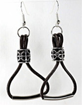Handcrafted  Leather Earrings - £7.71 GBP