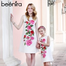 Beenira 2019 Summer Family Matching Outfits Mother Or Daughter Floral Dr... - $49.60