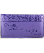 Checkbook Cover Purple Be Still And Know That I Am God Psalm 46:10 Brand... - $13.14