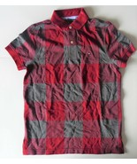Tommy Hilfiger Mens Polo Striped Short Sleeve ShirtRed Gray Size XSmall NWT - $38.79