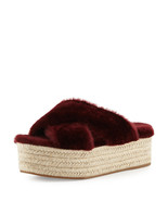 Miu Miu Shearling Crisscross Slide Sandal MSRP $590.00 Size 41/11 - $376.20