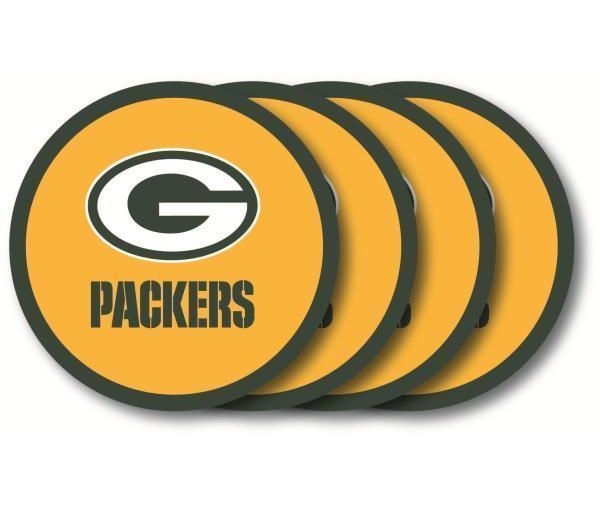 GREEN BAY PACKERS 4 PACK HEAVY DUTY VINYL DRINK COASTER SET NFL FOOTBALL