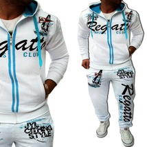 Men Sport Tracksuit Casual Letter Printed Hoodie Coat Leisure Trousers for Male  image 6