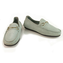 GUCCI Light blue suede leather silver tone HW moccasins loafers flat shoes 36.5  - $277.20
