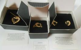 Vintage AVON Onyx Heart Pendant Necklace, Clip Earrings & Ring Set NIB - $59.99