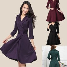 Fashion Mid Sleeves Evening Dresse Women Pure Color OL Vocational Lapel ... - $35.70