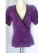 Express Stretch Purple Black Front Wrap Back Tie Top Blouse Size S - $8.38