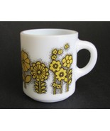 Mug Mod Hazel Atlas Yellow Flower Power 1970s - $28.00