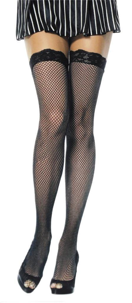 NEW LOT OF 6 LEG AVENUE WOMEN'S THIGH HIGH FISHNET TIGHTS STOCKINGS BLACK 9027