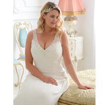 Sexy Plus Size Wedding Dress Beading V-neck Sleeveless Ruched Pleats Chiffon Bea image 3