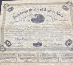 CSA WAR LOAN BOND $100 1863 SOUVENIR REPRODUCTION COLLECTIBLE - $2.00