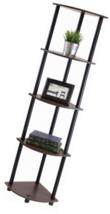5 Tier Corner Display Shelf Organizer Dark Brown Wood Grain Storage Livi... - $29.23