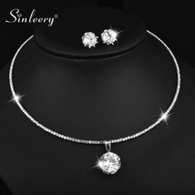 SINLEERY New Fashion Round Cubic Zirconia Jewelry Set For Women Stud Ear... - $21.35