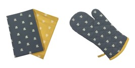 BEE SILHOUETTES GREY YELLOW SINGLE OVEN GLOVE & PACK OF 2 KITCHEN TEA TO... - $29.21