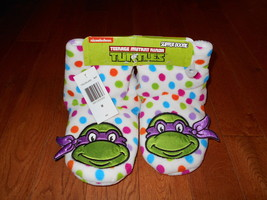 TEENAGE MUTANT NINJA TURTLES Kids Slippers M Booties Soft Polka Dot Hous... - $15.83