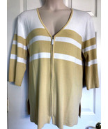 New Bob Mackie Full Zip Cardigan Sweater 3/4 Sleeve Sz XL yellow White S... - $18.04