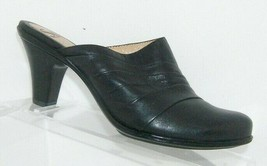 Sofft black leather round toe tapered ribbed slip on mules clog heels 6.5M - $33.30