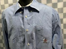 TOMMY HILFIGER Blue Crest Pocket Button Front Men's Shirt Size L - $14.84