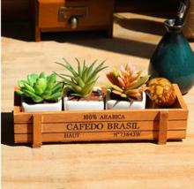 Nordic Wood Box Wooden Flower Pot Plant Pots Sundries Storage Succulent ... - $5.99