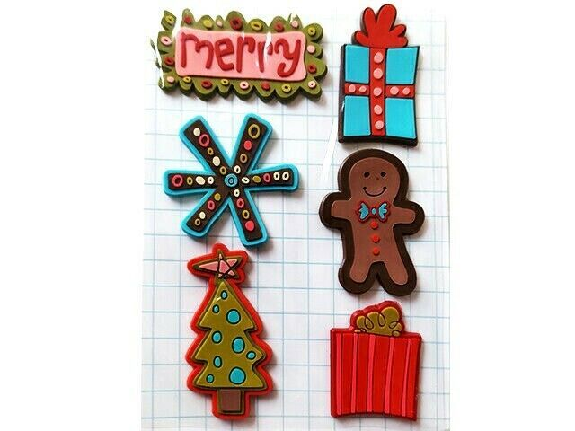 Love Elsie Noel Goodies Rubber Sticker Set, 6 Pieces #2230 Perfect for Christmas