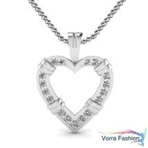 Beautiful Heart Shape Pendant 10k White Gold Plated 925 Silver Round Cut... - £39.68 GBP