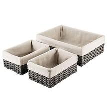 HOSROOME Handmade Wicker Storage Baskets Set Shelf Baskets Woven (Grey) - £32.76 GBP