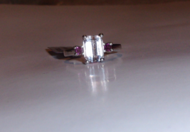 Pink Kunzite Octagon Solitaire & Garnet Square Ring, Silver, Size 7, 2.6... - $99.99