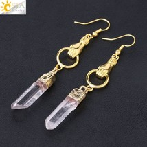 Long Drop Earrings for Girl Gold Silver Color Natural White Crystal Quartz Irreg - $13.74
