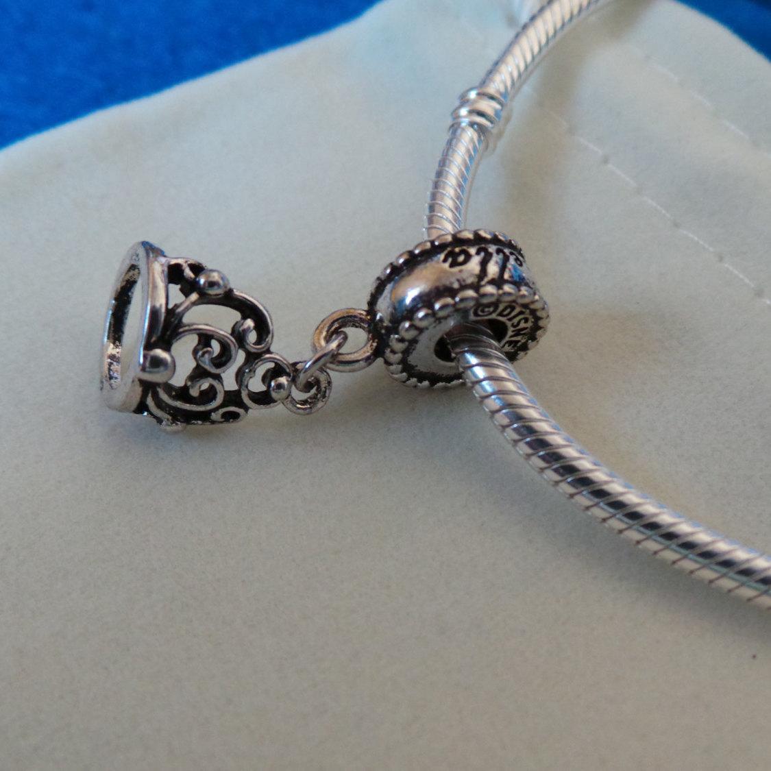NEW Disney Princess Theme Charm - Cinderella's Tiara Crown silver plate + pouch