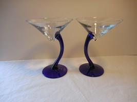 set of 2 Bravura Libbey Cobalt Blue Curved Stem Martini Glasses  Entertain - $9.89