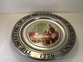 """Wilton Drafting of the Declaration of Independence 1776 Pewter 11"""" Plate - $6.77"""