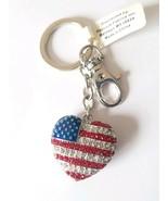 Heart Shaped Rhinestone US American Flag Charm Patriotic Key Chain  - $9.65