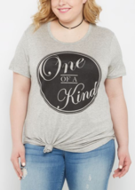 New Womens Plus Size 3X Gray One Of A Kind - SPECIAL- Shirttail Tee Shirt Top - $17.41