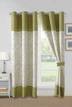 4P Forrest Floral Leaves Stripe Curtain Set Sage Green Drape Grommet She... - $40.89
