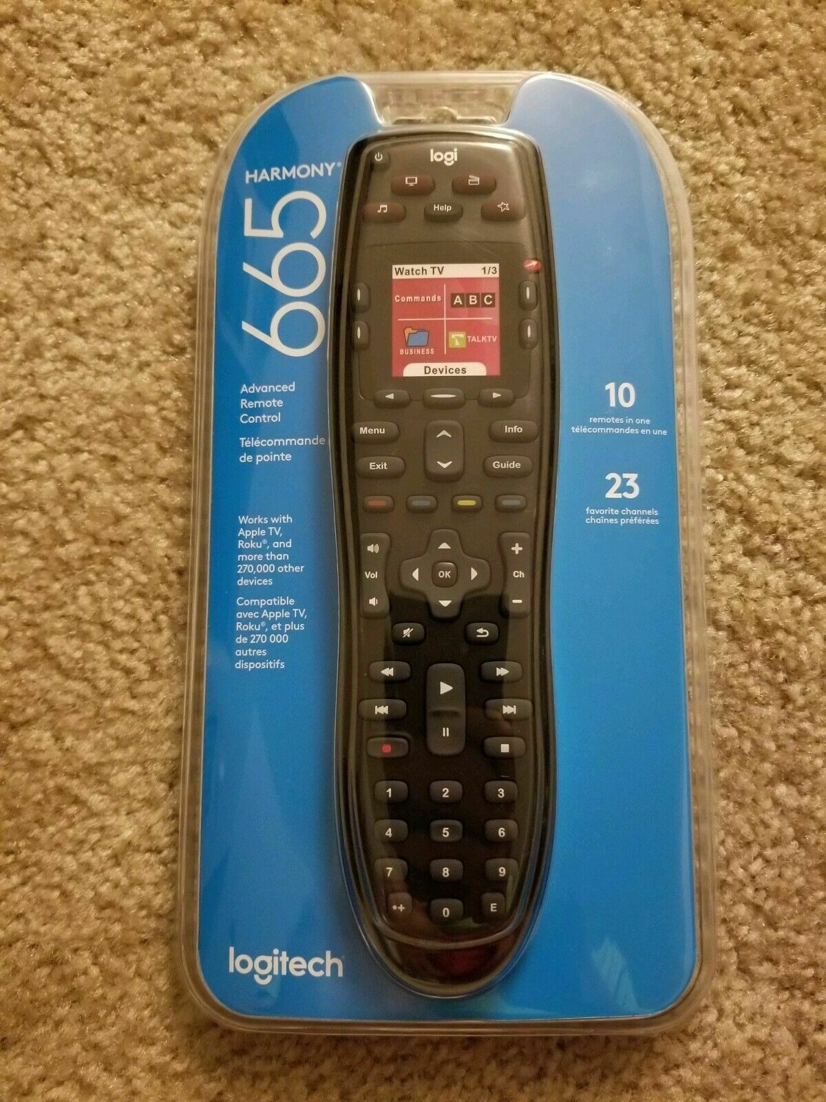 ADVANCED Logi tech Harmony 665 remote control w/USB cord universal screen light