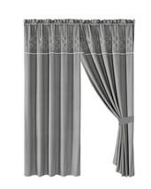 4-Pc Richi Curtain Set Drape|Scroll Floral Lotus Embroidery|Rod Pocket|Gray - $40.89