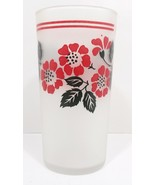 """Libbey Frosted Drinking Glass Red & Black Foliage 5.25"""" Tall Vintage - $29.99"""