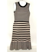 Kate Spade New York Knit Fit & Flare Dress Chevron Stripes Black Beige Sz M - $79.15