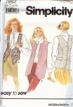 Simplicity 7982 Misses Set of Lined Vests Size Y (18-20-22) Easy To Sew Pattern - $5.89