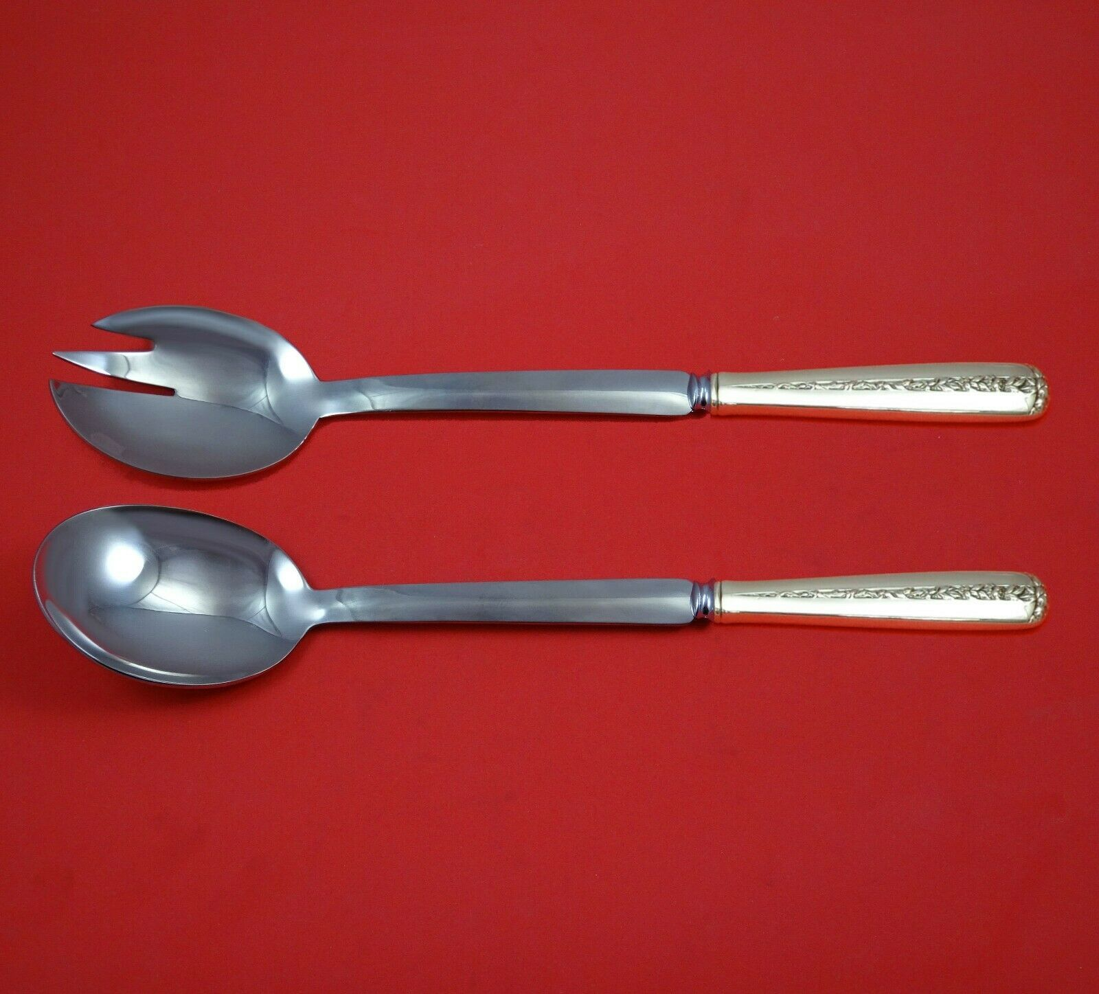 Primary image for Rambler Rose by Towle Sterling Silver Salad Serving Set Modern Custom 10 1/2""