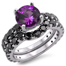 Silver 925 1.90Ct Round Amethyst & Simulated Diamond Bridal Engagement Ring Set  - $120.00