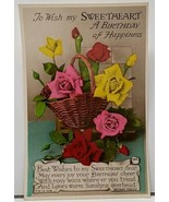Real Photo Beautiful Flower Basket Hand Colored Sweetheart Birthday Post... - $8.95