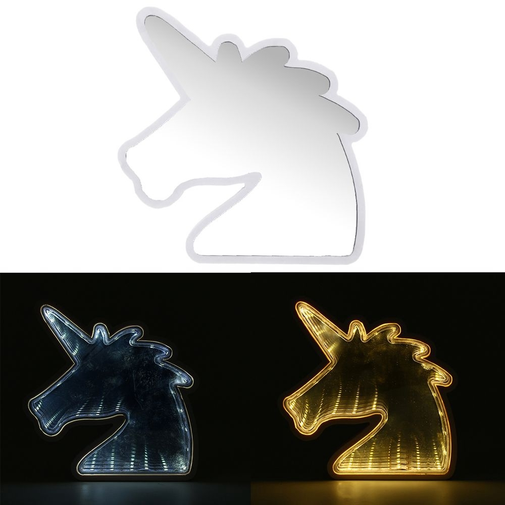 Creative Cute Unicorn Mirror Lamp LED Tunnel Night Light for Kid Atmosphere Ligh