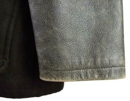 Marc Ecko Leather & Wool Heavy Bomber Jacket Brown Varsity Style Button Mens XL image 11