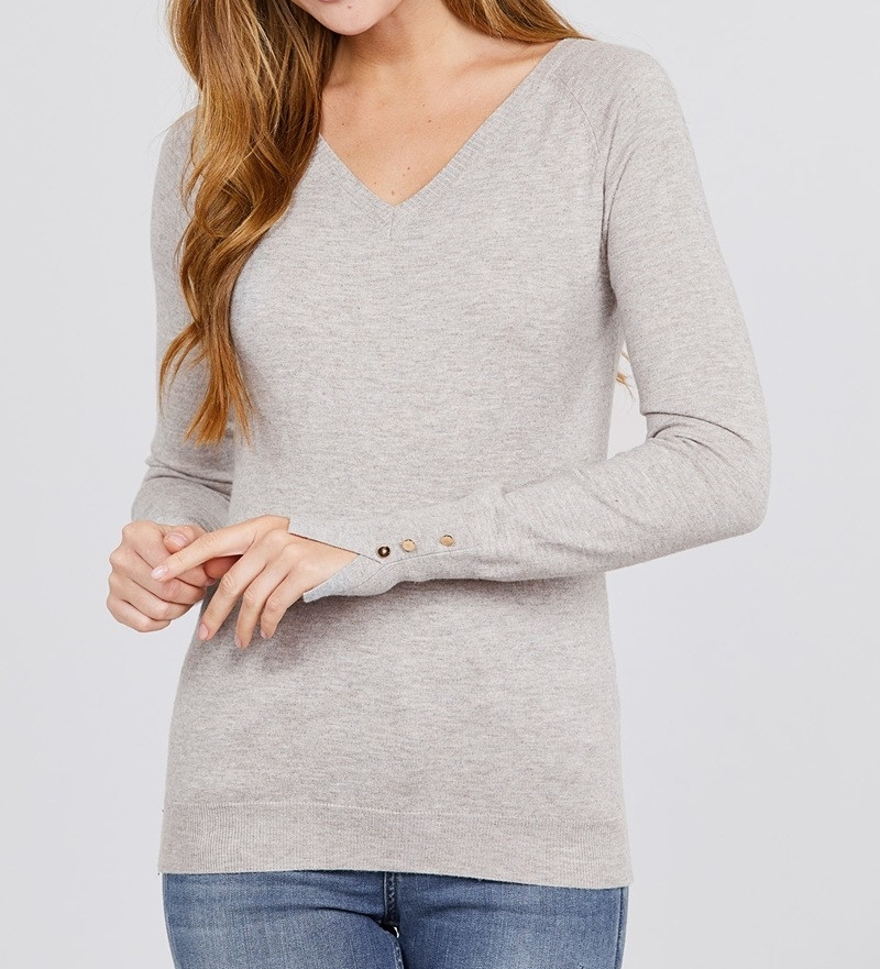 Primary image for Long Sleeve Sweater with Split Sleeve Detailing, Taupe Sweater, Viscose Sweater