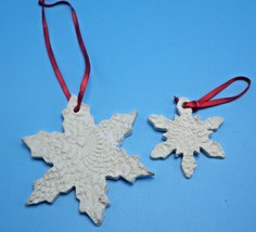2 handmade pressed White  ceramic snowflakes Ornament - $1.90
