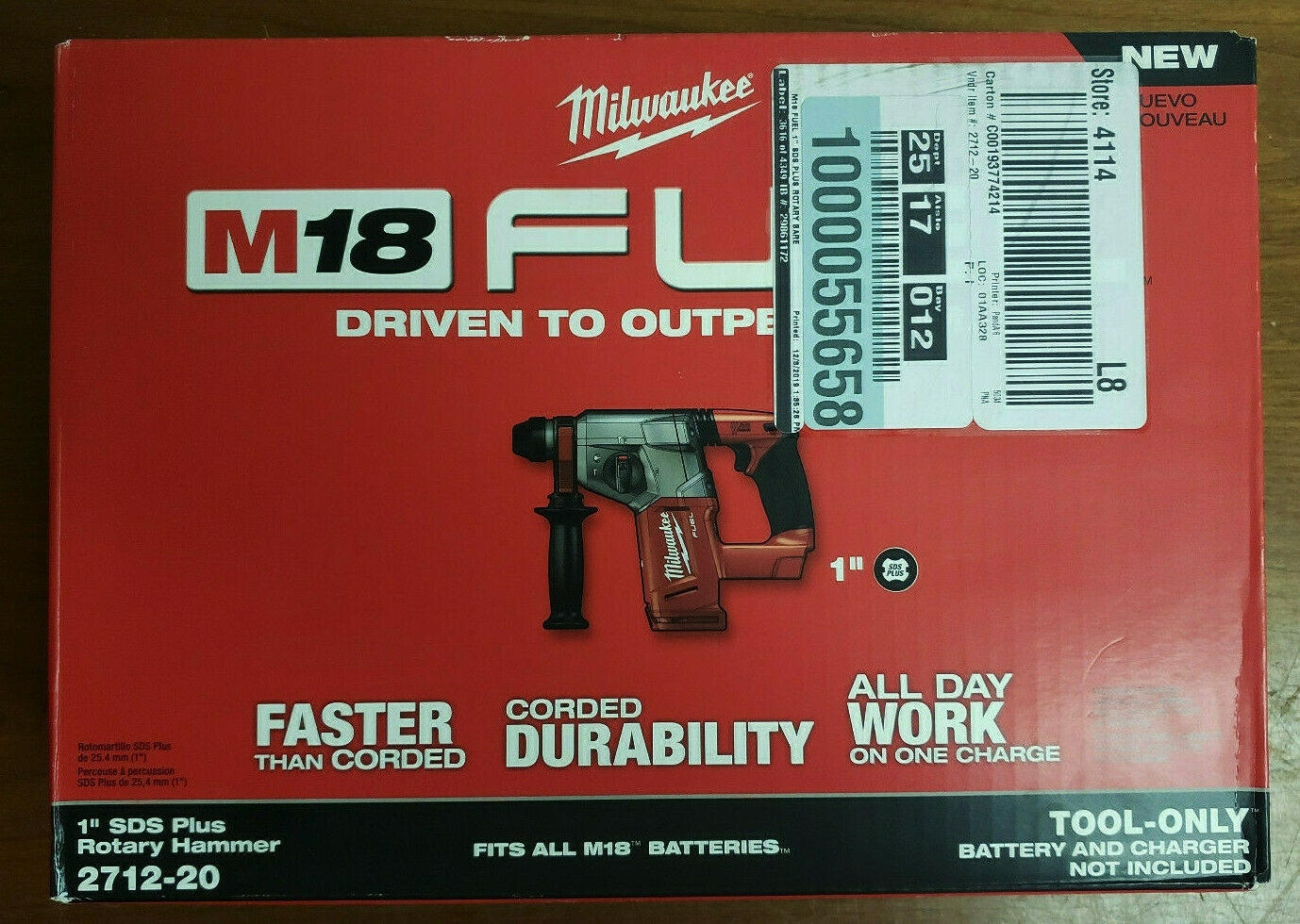 "MILWAUKEE 2712-20 M18 FUEL 1"" SDS PLUS ROTARY HAMMER (TOOL ONLY)-NEW-NOT REFURB - $225.00"