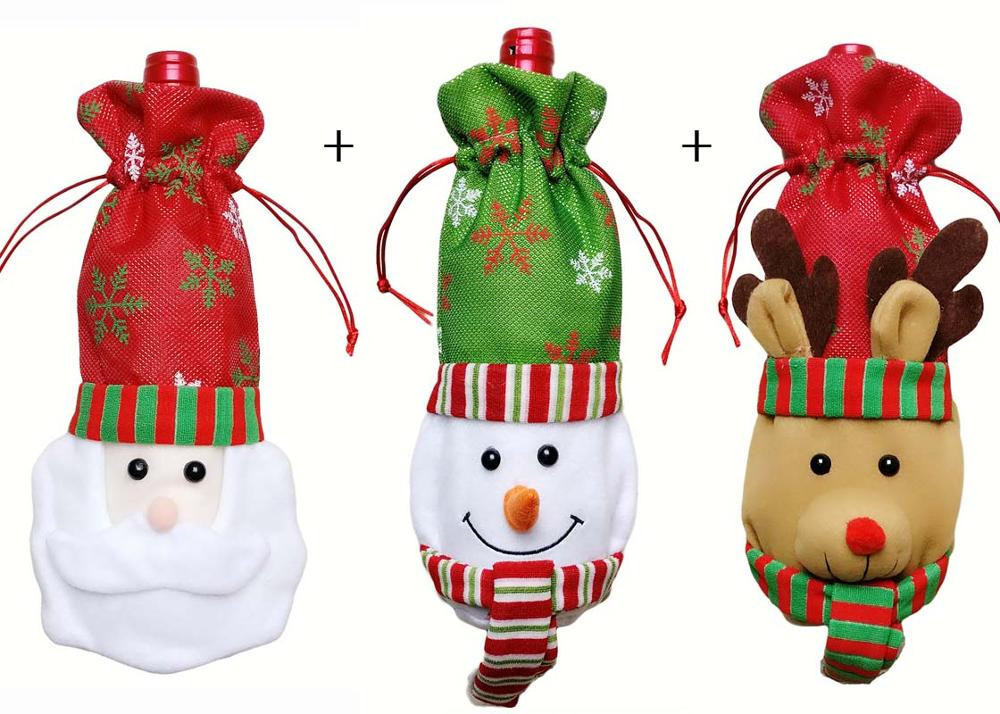 3pcs Santa Claus Sowma Deer 3 Christmas Gift Red Bottle Xmas Table Party Red Gif