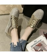New Loafers Women Platform Flats Faux Rhinestone Sneakers Lace Up Silver... - $29.99
