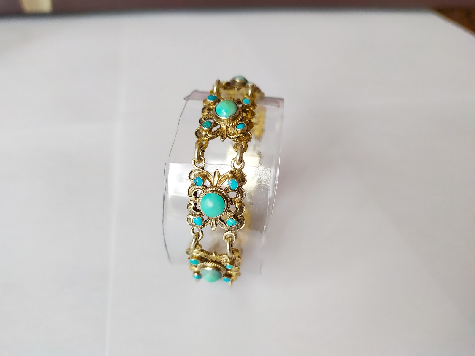 Antique Austro-Hungarian Green Turquoise and Gold Bracelet
